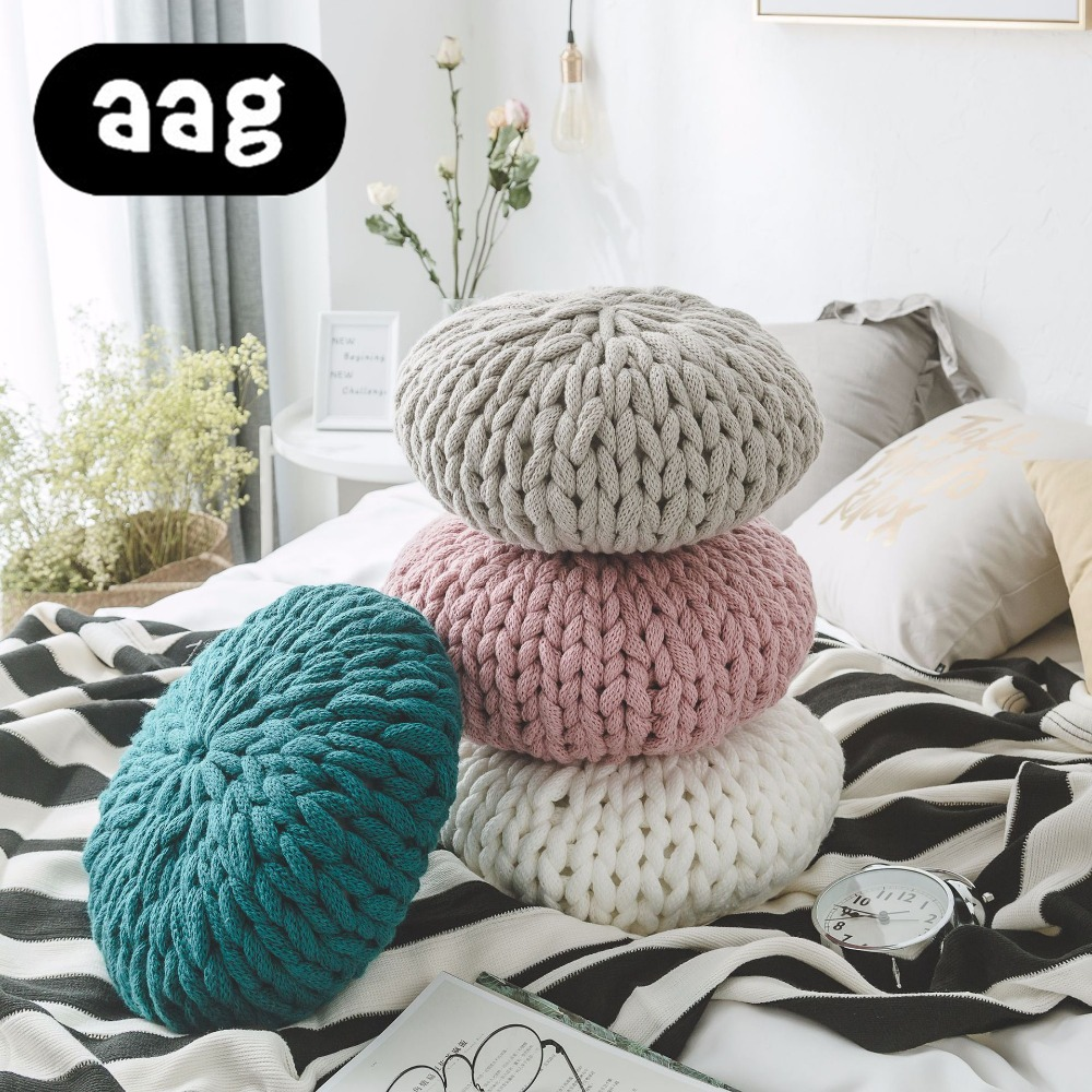 Aag Candy Round Hand Woven Couch Pillowthick Line Cushion