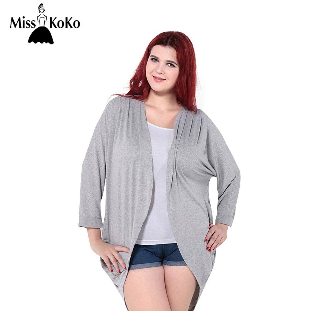 MissKoKo 2017 Del Tamaño Del Verano Mujeres de La Blusa Floja de Gran Tamaño mujeres Camiseta Gris Negro Kimono Cardigan 3XL 4XL 5XL 6XL Cardigan