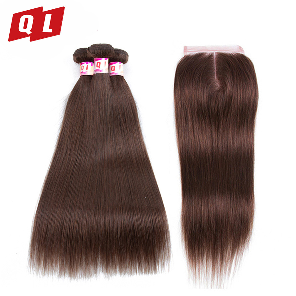 QLOVE HAIR 100 4 Peruvian Human Hair Weaves 3 Bundles With 4 4 Lace Closure Straight