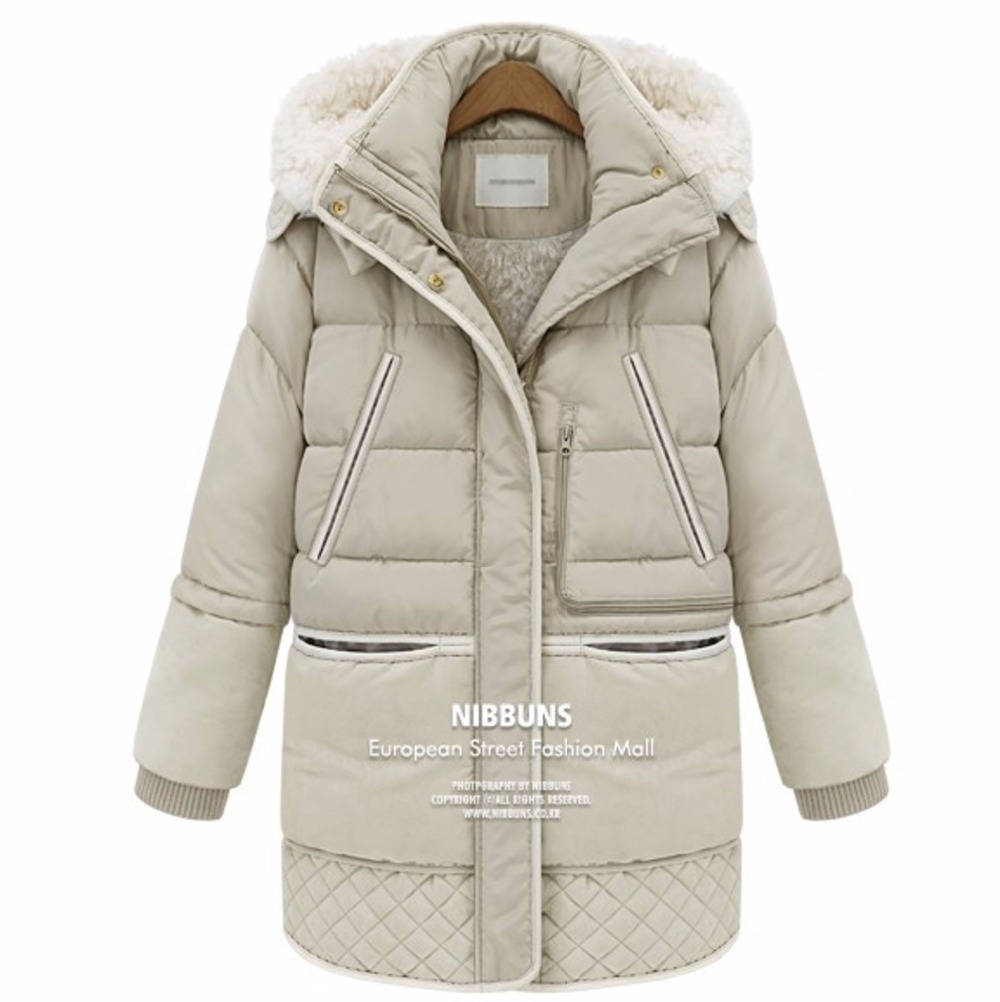 Autumn and winter woman down coat women hooded artificial lamb wool jackets zipper warm long coats white duck down coats