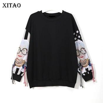 [XITAO] ยุโรปฤดูใบไม้ผลิ 2018 ผู้หญิงแฟชั่น Street พู่ O - คอ Pullover แขนยาวประดับด้วยลูกปัดรูปแบบการ์ตูนเสื้...