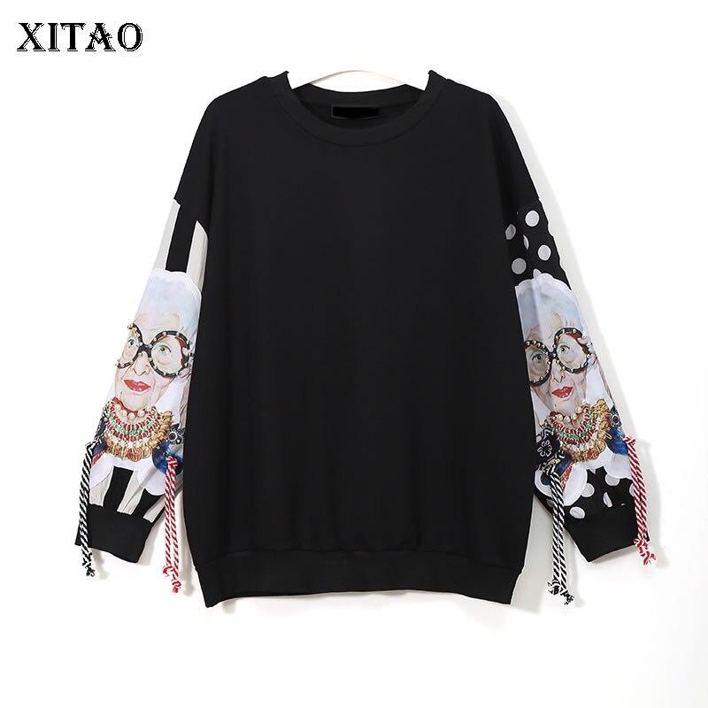 [XITAO] Europe Printemps 2018 Femmes De Mode Rue O-cou Gland Pull Pleine Manches Perles de Bande Dessinée Motif Shirts XWW2734