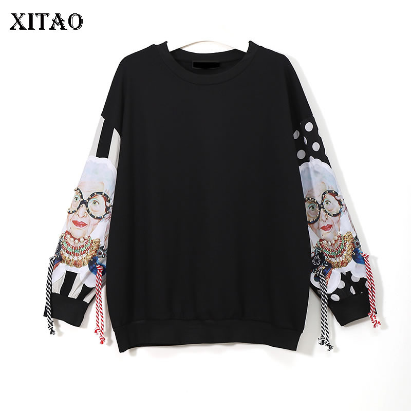 XITAO Black Long Sleeve Sweatshirts Women Patchwork Print Tassel 