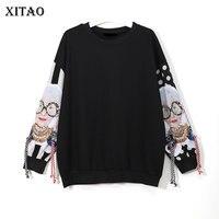 XITAO Black Long Sleeve Sweatshirts Women Patchwork Print Tassel Pullover Harajuku Hoodie Pullover Women Clothes New XWW2734