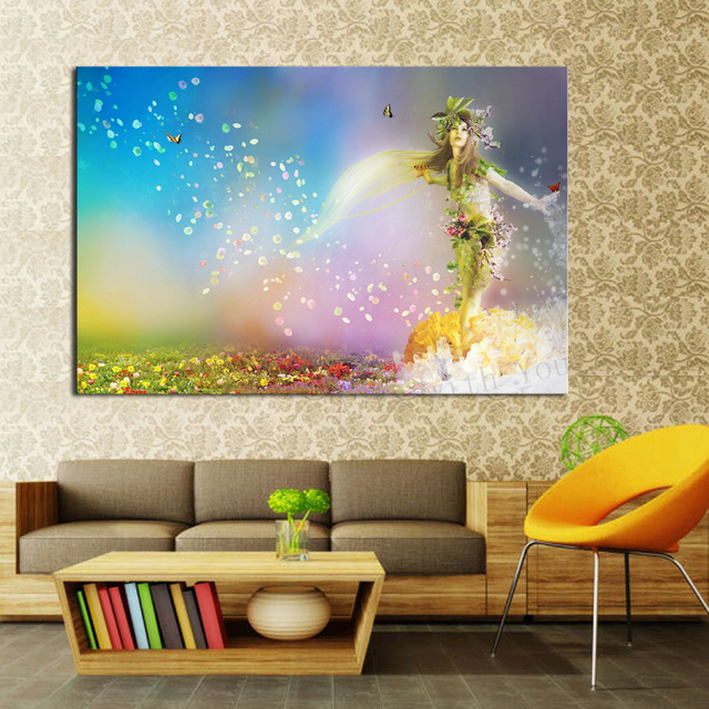 Lovely 1 Piece Abstract Picture Little Mermaid With Flower Modern Home Wall Decor  Canvas Art HD Print