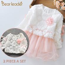 Bear Leader Baby Girls sukienka New Spring długi rękaw księżniczka sukienka dzieci ubrania dzieci sukienka + Pineapple plecak na Baby Dress tanie tanio Dziecko Kreskówki Mikrofibra bawełna Casual Pełne Regularne Długość kolana A-Lin AX271 Łuk Trapezowa O-Neck Cotton Acetate