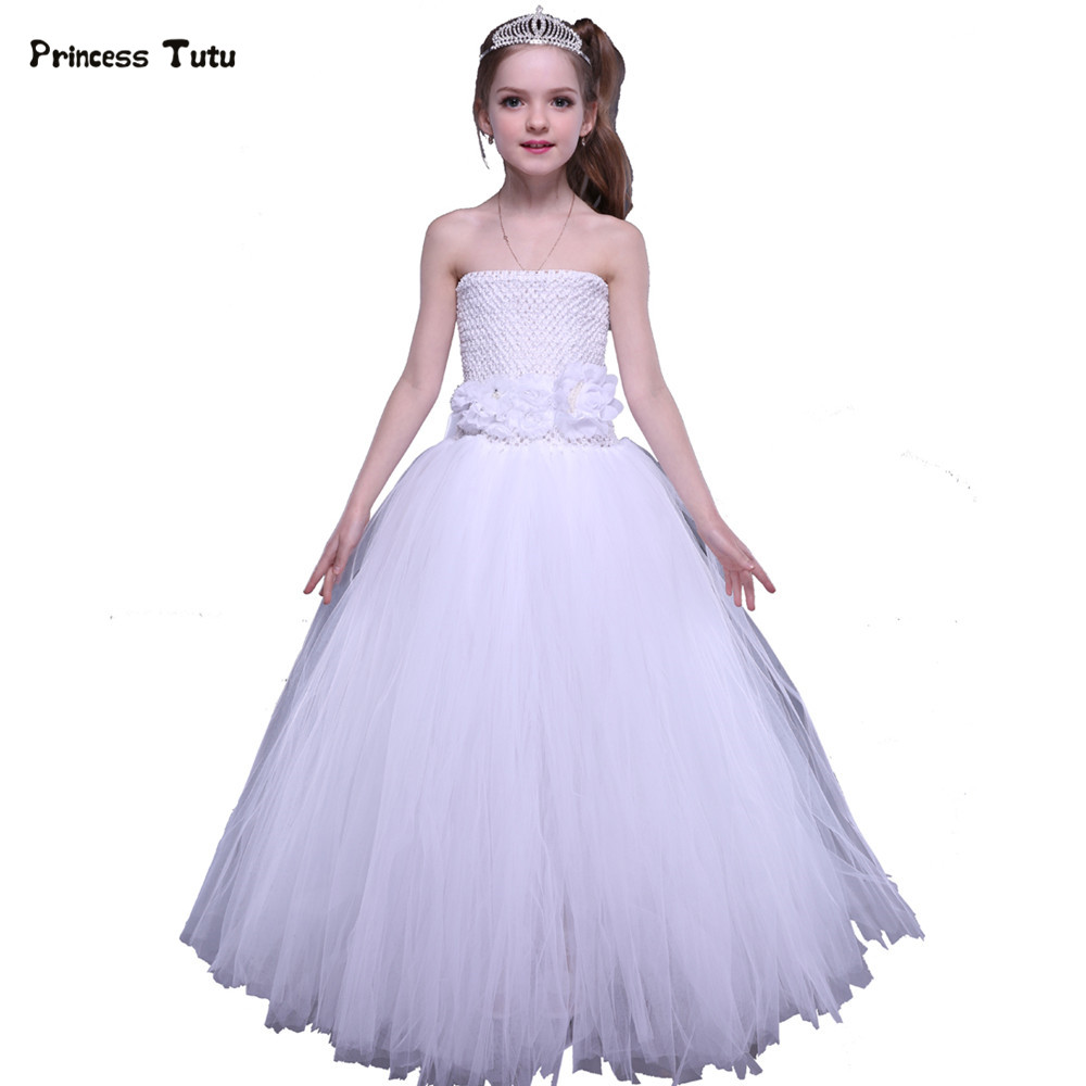 купить Children Tutu Dress Kids Party Pageant Ball Gowns For Girls Flower Girl Dresses White Wedding Tulle Princess Dress Costume 1-14Y дешево