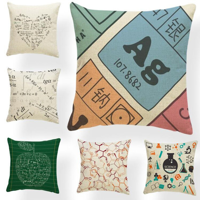 Letter Cushion Case Mathematics Pillow Covers Mid Century Modern