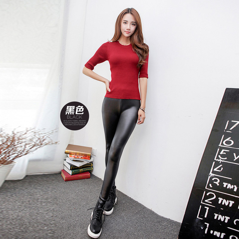 Autumn and winter not down velvet thickening imitation leather leggings wear large size high elastic warm pants