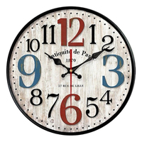 Nordic Metal Roman Numeral Wall Clocks Retro Iron Round Face Black Operated Round Silent Non Ticking Digital Quiet 3DBGV76