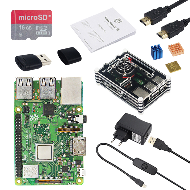 цена на Raspberry Pi 3 Model B+ ( B Plus ) Starter kit+Case+2.5 A Power+16G SD Card+HDMI Cable+Heat Sink for Raspberry Pi 3 Model B Plus