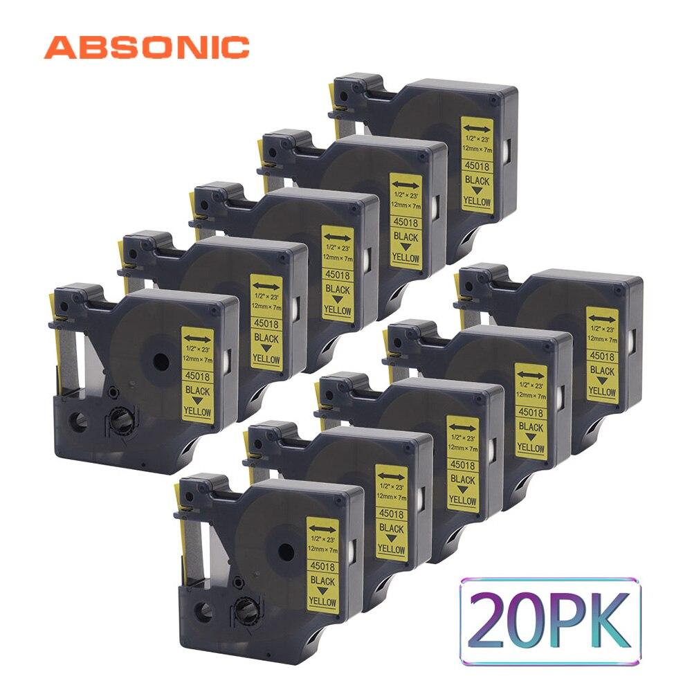Ruban de recharge Absonic 20 pièces 12mm DYMO D1 45018 noir sur jaune Compatible Dymo LabelManager PnP 160 220 P 360D 450D imprimante Maker
