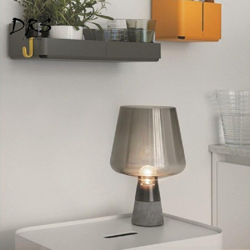 American Vintage Desk Lamp Cement Glass Table Lamp Bedroom Bedside Desk Light Modern Nordic Simple Loft Industry Style