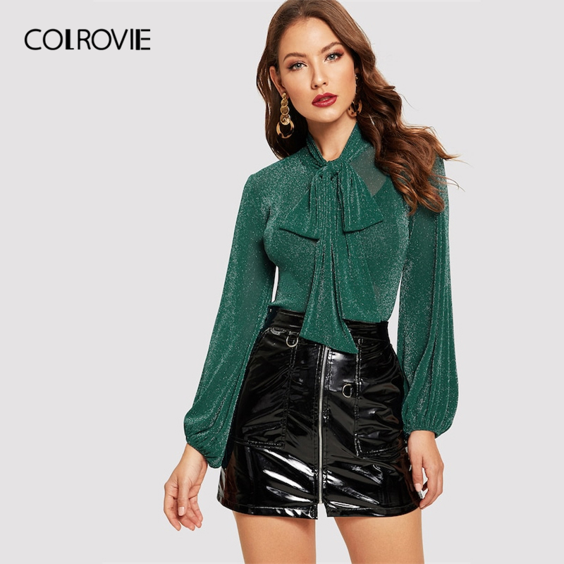 909d87dc32293e COLROVIE Green Leopard Print Ruffle Elegant Vintage Feminine Blouse Shirt  2018 Sexy Long Sleeve Blouse Women Tops And Blouses