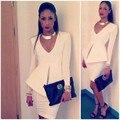 New Brand Women Elegant White Office Dress Suit Sexy Deep V Neck Bodycon Mini Dress for Lady Fashion OL Style Business Uniform