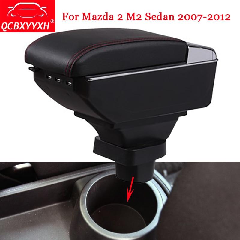 QCBXYYXH Car Styling ABS Car Armrest Box Center Console Storage Box Holder Case Auto Accessories For Mazda 2 M2 Sedan 2007-2012