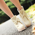 lovely winter young lady red white black beige bowtie flower platform bottom casual date flats female ankle boots plus size shoe