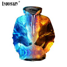 Lyprerazy Animal 3D Men Women Sweatshirts Ice Fire Wolf Hoodies Pullover Winter Spring Tracksuits Harajuku Casual Hoodies