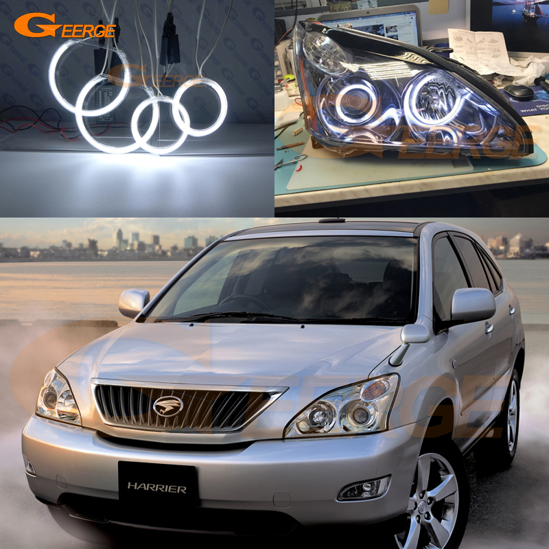 For Toyota Harrier 2003-2012 HID Headlight Excellent angel eyes Ultra bright illumination CCFL Angel Eyes kit Halo Ring for alfa romeo 147 2000 2001 2002 2003 2004 halogen headlight excellent ultra bright illumination ccfl angel eyes kit halo ring