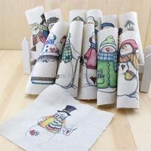 Mão tingido 12 assorted cotton linen100 % impresso quilt tecido para diy costura patchwork home textile decor 15×15 cinco centímetros dos desenhos animados do boneco de neve