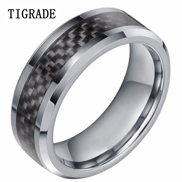 8mm Neue Schwarz Kohlefaser Manner Ring Hartmetall Verlobungsring