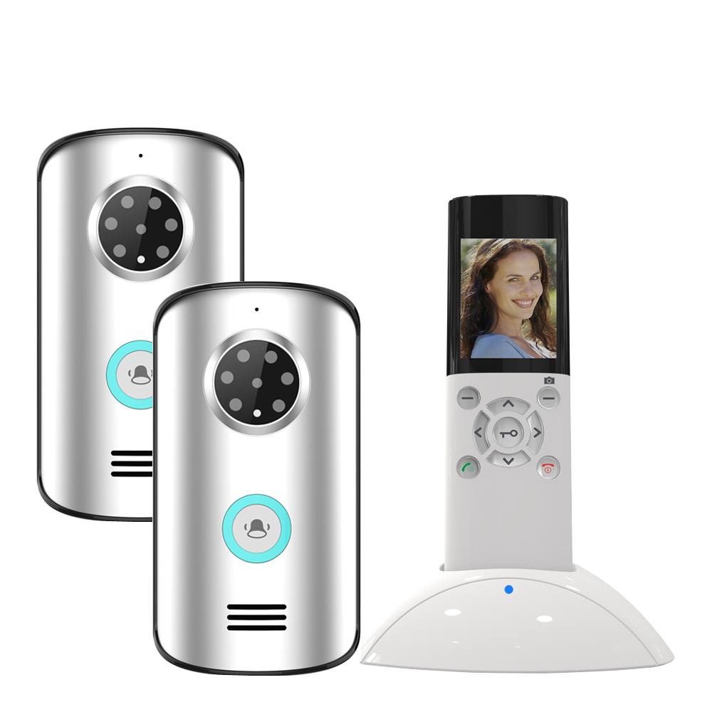 JERUAN New 2.4G Home Wireless Video Door phone doorbell Intercom System 1 indoor to 2 outdoor Waterproof IR Night Vision Camera 2 7inch indoor monitor wifi wireless video door phone intercom doorbell ip camera pir ir night vision home alarm system remote