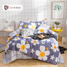 Liv-Esthete Fashion Flower Bedding Set Double Queen King Duvet Cover Pillowcase Grid Flat Sheet Bed Linen For Adult Bedspread