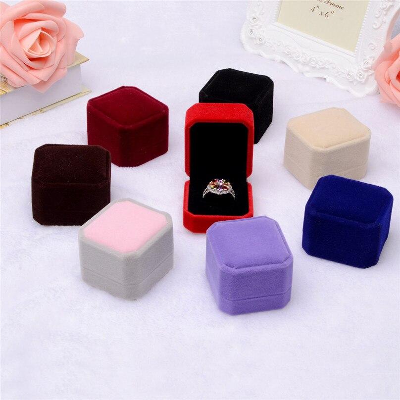 Fashion Velvet Engagement Wedding Earring Ring Pendant Jewelry Display Box Gift ring box Storage Boxes #3F12 (14)