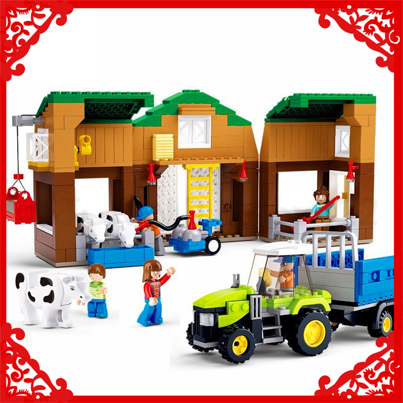 SLUBAN 0561 Block Compatible Legoe Sunny Ranch Horse Farm Model 512Pcs DIY Educational  Building Toys For Children sluban 0372 block compatible legoe aviation city aircraft repair shop model 596pcs educational building toys for children