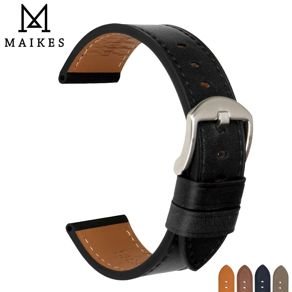 MAIKES Watch Accessories Strap Genuine Leather Man Wrist Bracelets Black Watchband For Omega 22mm 24mm Band