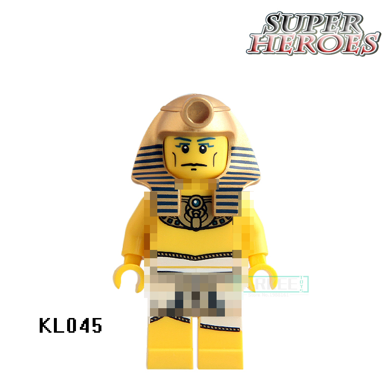 Action Blocks Figures Mummy Warrior Golden Face Pharoahs Egyptian Super Hero Models Brick Kid DIY Toy for House Game KL045 Doll