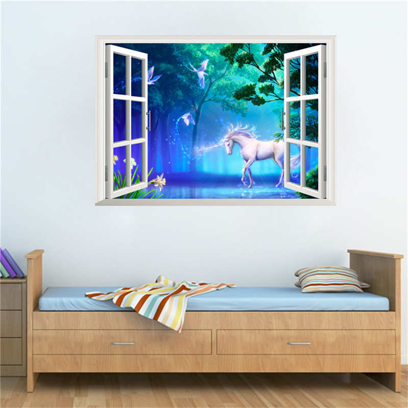 KiWarm Kawaii Horse Decorative Mirrors 3D Window Magical Mural Art Home Wall Decorative Sticker For Living Room Baby Bedroom