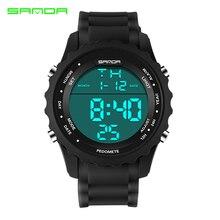 Sanda большой циферблат наружные мужские спортивные часы светодиодный цифровые наручные часы водонепроницаемые будильник хронометр с календарем повседневные Relojes Mujer