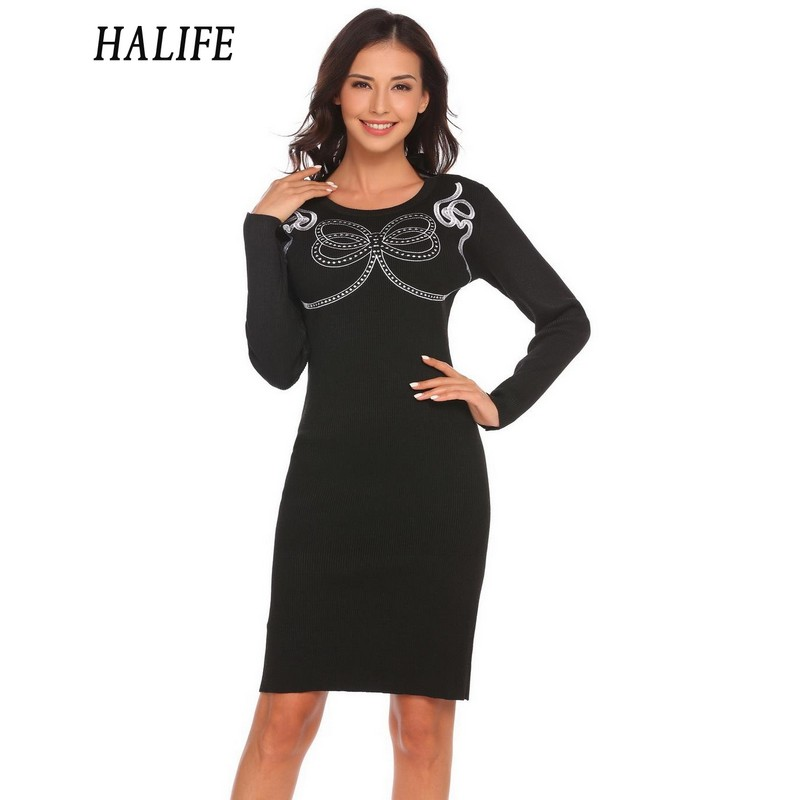 HALIFE Women Casual Pencil Dress V-Neck Long Sleeve Package Hip Bow Tie Backless Winter Knitted Sweater Dress 1115 bow tie neck exaggerate mesh raglan sleeve pencil dress