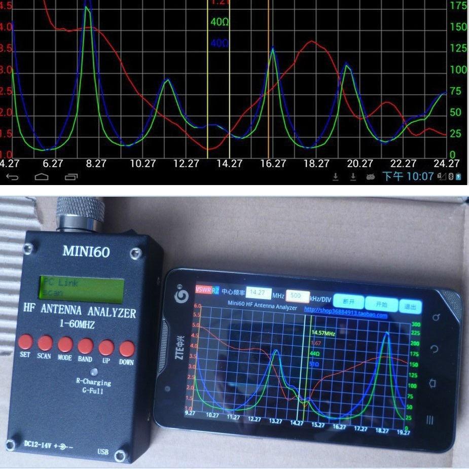 Original MINI60 1 - 60 Mhz New Bluetooth Android verison HF ANT SWR Antenna Analyzer Meter new mini60 sark100 hf ant swr antenna analyzer meter bluetooth android app drop shipping