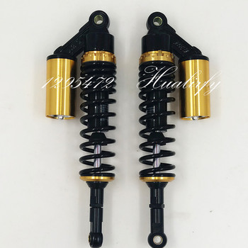 Universal One Pair 360mm Motorcycle New Rear Air  Shock Absorber Suspension 7mm spring   for  honda yamaha suzuki Black +gold