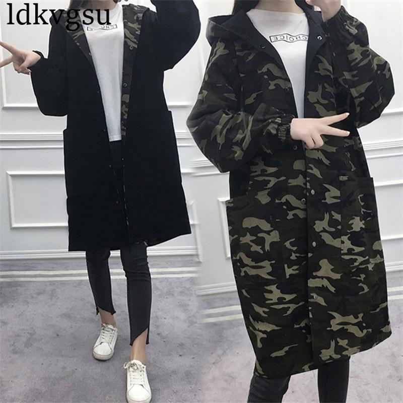 Autumn Jacket Women 2018 New Arrival Military Jackets Women Fashion Armygreen Casual Loose Long Windbreaker Jacket Female A1458