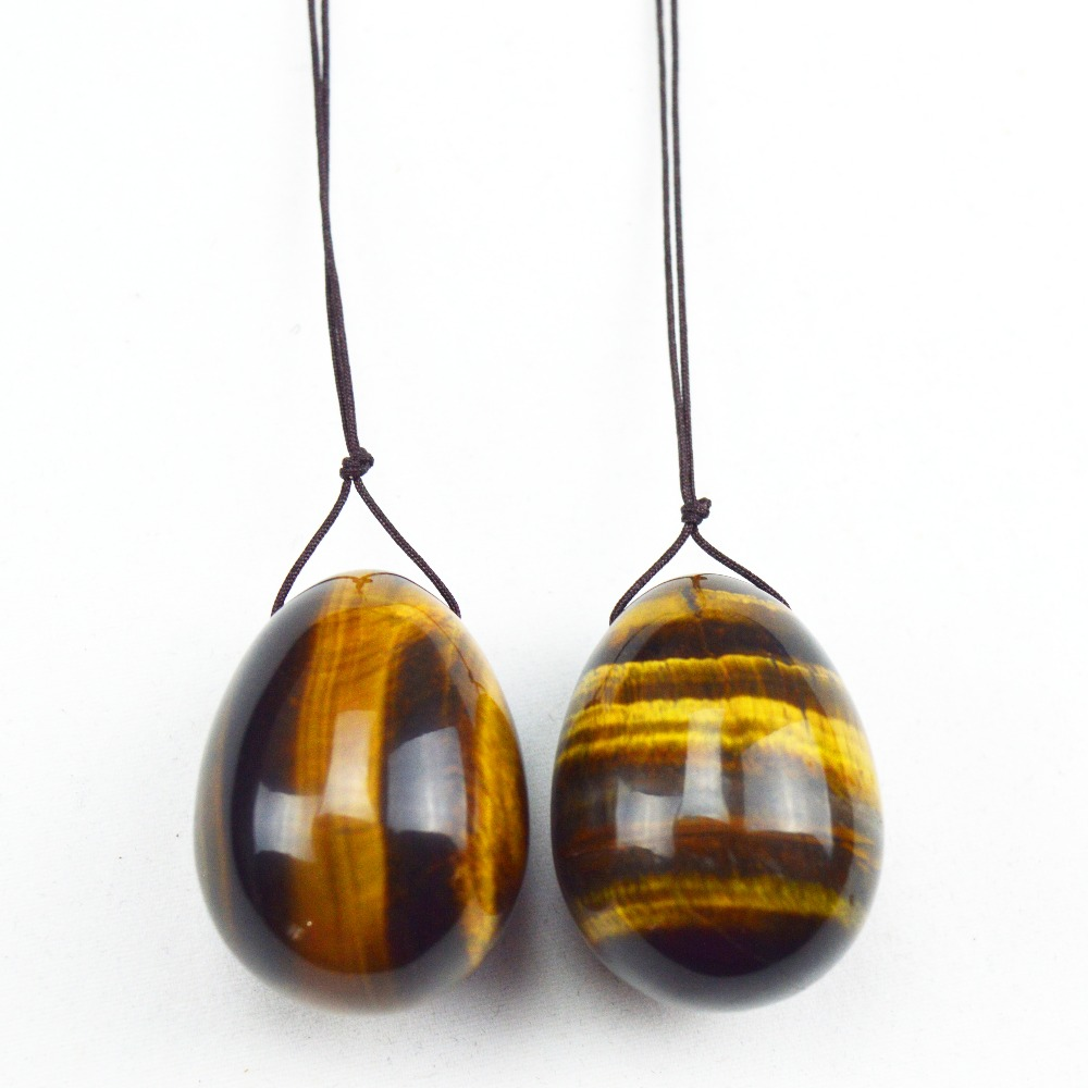 2 Pcs 40*30mm tiger eye egg for kegel exercise Reiki Healing chakra massage pelvic muscles vaginal exercise yoni  ben wa ball