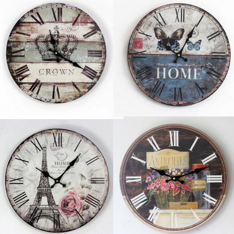 Retro Europe Rustic Wooden Wall Clock Home Decorative