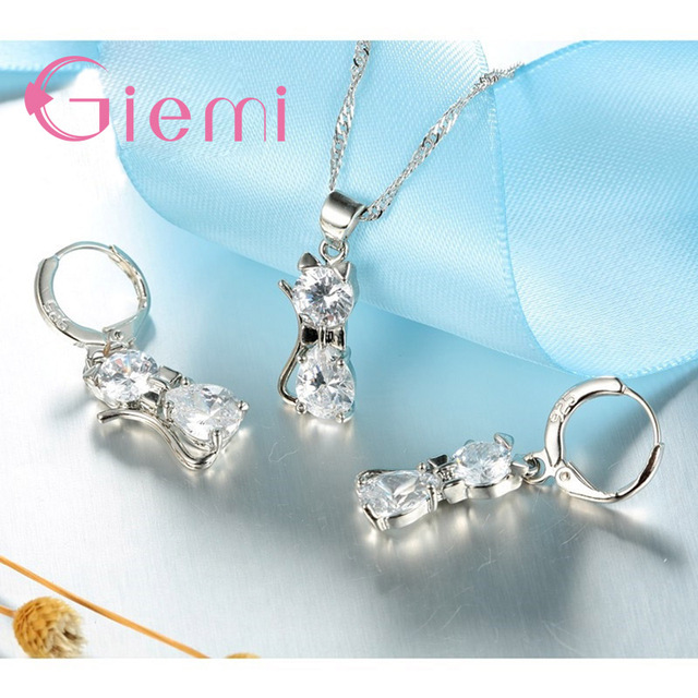 GIEMI Genuine Top Highly 925 Sterling Silver Clear Cubic Zirconia Cat Pendant Necklace+ Earrings Hot Crystal Jewelry For Women