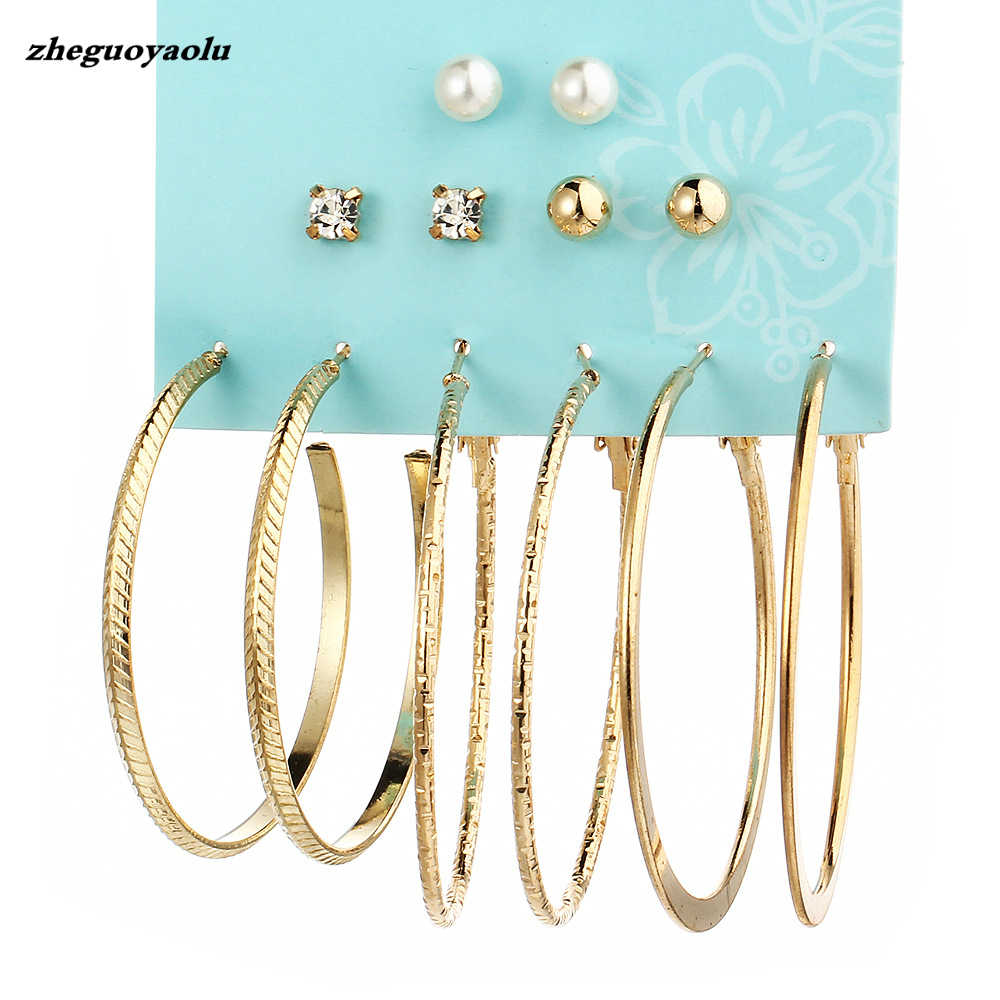 6 Pairs/set 2018 New Brinco Pearl Studs Set Earrings Jewelry Fashion Gold Silver Punk Crystal Big Round Stud Earrings Set