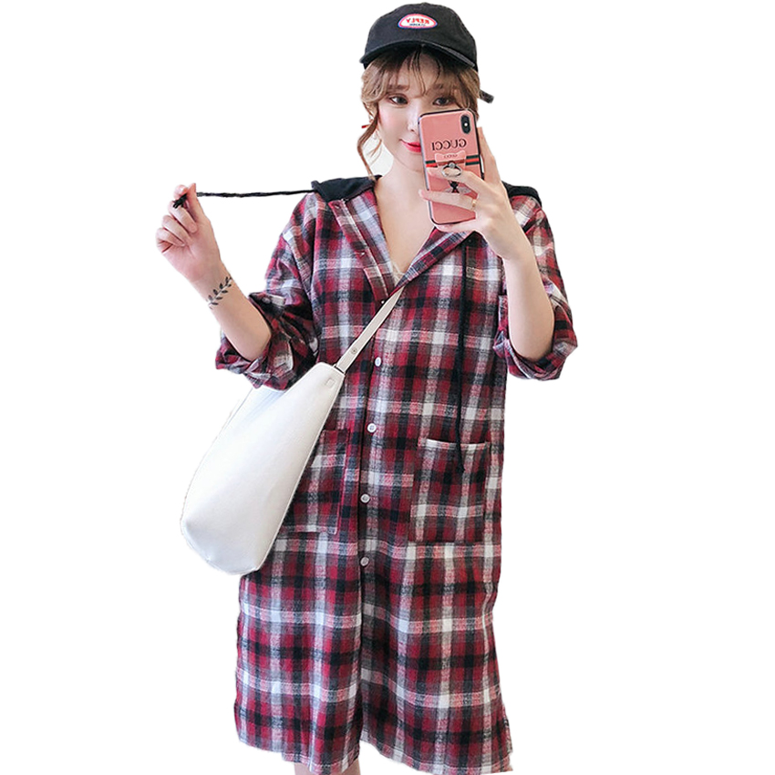 À Capuchon Taille Vérifier En Écossais coffee Capuche Rouge Blouse Décontracté Imprimer Femme Coton Chemise Café Haut Red Motif Shirt Grande Femmes Shirt Chemises Loisirs 5xl xwqEvAC