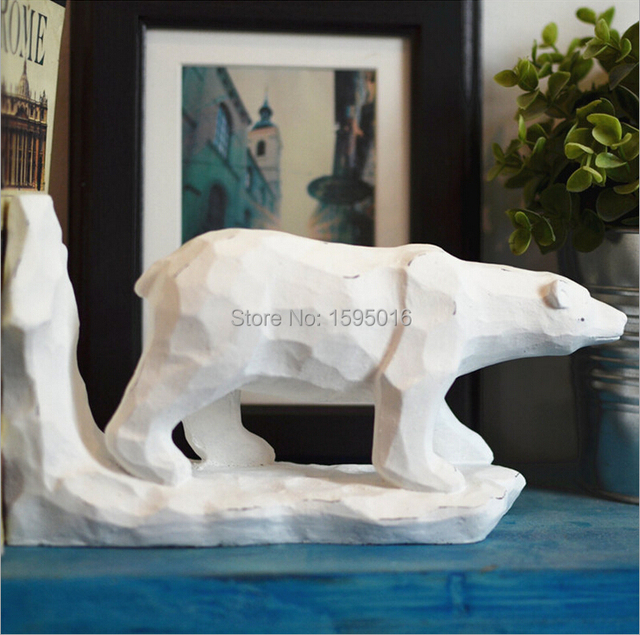 Polar Bears Decorations,creative European Nordic Quebec Home Decor,study  Decor,3D Sculpture
