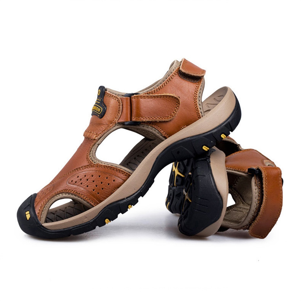 2019 summer autumn sandals mens leather baotou beach shoes outdoor breathable casual