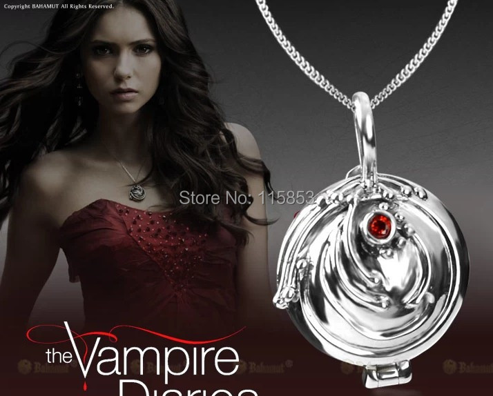 925 Sterling Silver Vampire Diaries Elena s vervain Locket Necklace Free shipping