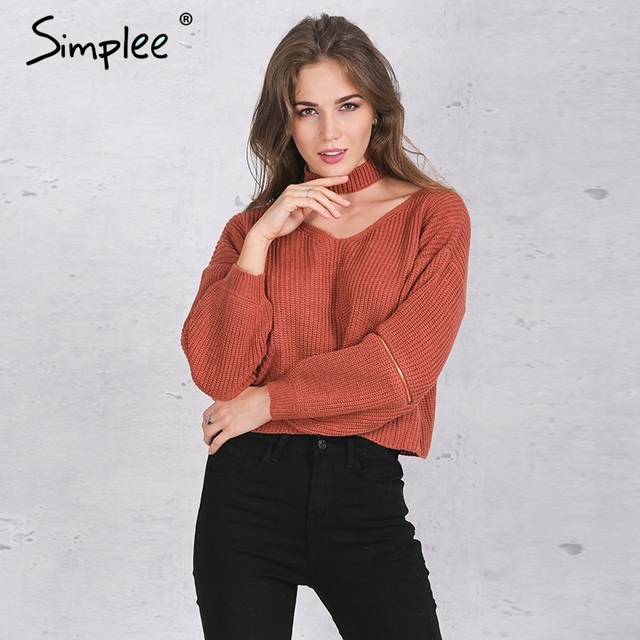 Simplee Winter halter knitted warm sweater Casual loose open zipper sleeve pull femme Autumn tricot short black pullover jumper