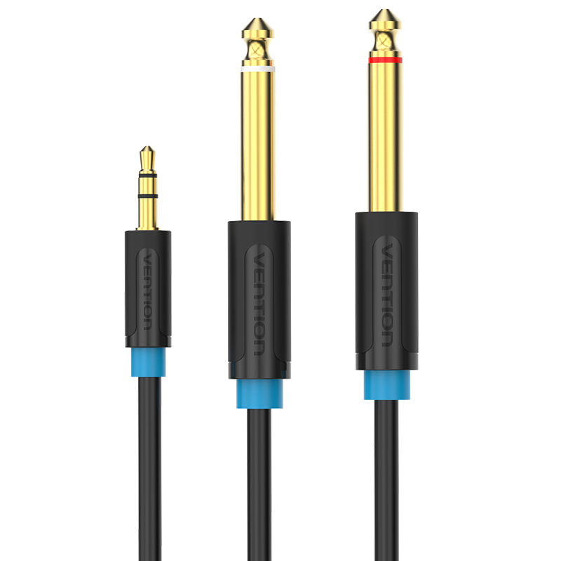 "Купить с кэшбэком Vention Audio Cable 6.35mm Male 1/4"" Mono Jack to Stereo 1/8"" Jack 3.5mm to Dual 6.5mm Aux Cable for Mixer Amplifier DVD Player"