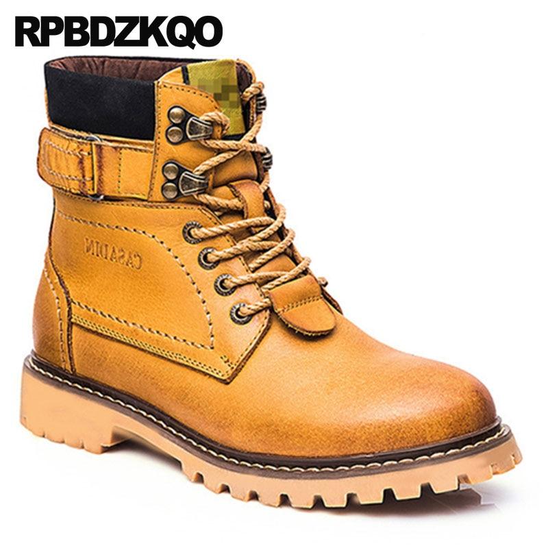 Combate Couro Khaki Genuínos amarelo Trabalho Botas Militares Grãos Qualidade Amarelo Ankle Outono Do Up Homens Alta Exército Sapatos Completa De Boots Lace Segurança wpEEqPaC