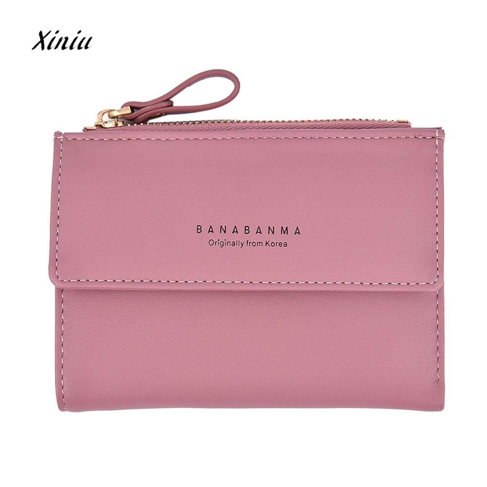 Women Leather Wallet Clutch Purse Lady Mini Handbag Zipper Bifold Wallet Coin Purse Female Money Bag Luxury Brand Wallet Hot