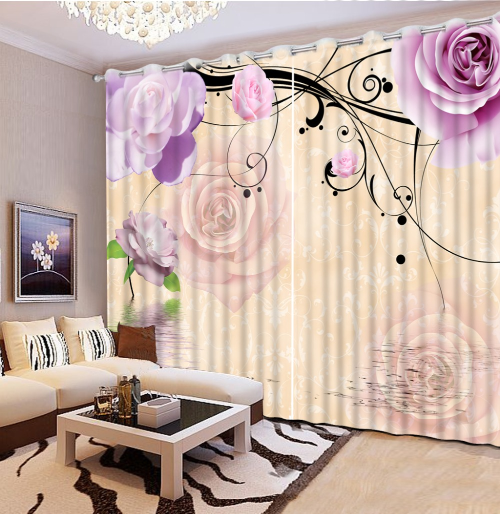 curtains living room window curtain living room purple flower rose 3d curtains window curtain patterns